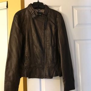 BNWOT - Brown with gold tint faux leather jacket